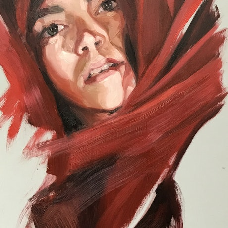 (CreativeWork) Molly in red by Chris Martin. Oil Paint. Shop online at Bluethumb.