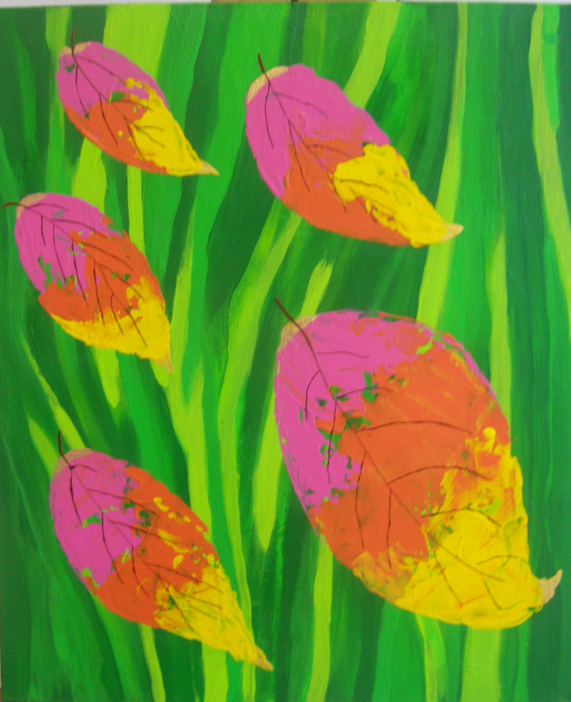 (CreativeWork) Falling Leaves by Barbara Payne. arcylic-painting. Shop online at Bluethumb.