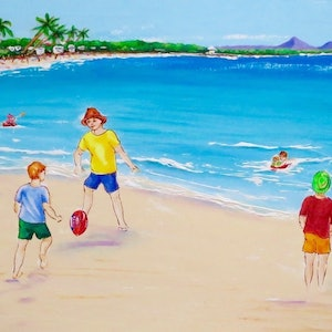(CreativeWork) Playing Football on the Beach by Anne-Marie Jones. arcylic-painting. Shop online at Bluethumb.