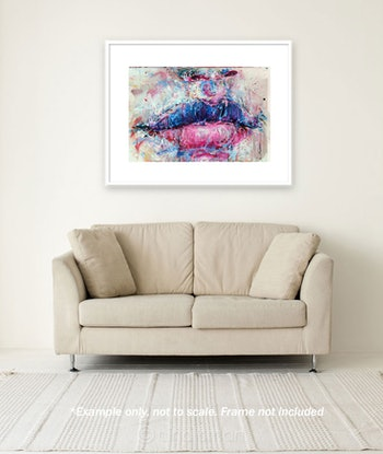 (CreativeWork) Lips in Cotton Candy by Nina Smart. Acrylic. Shop online at Bluethumb.