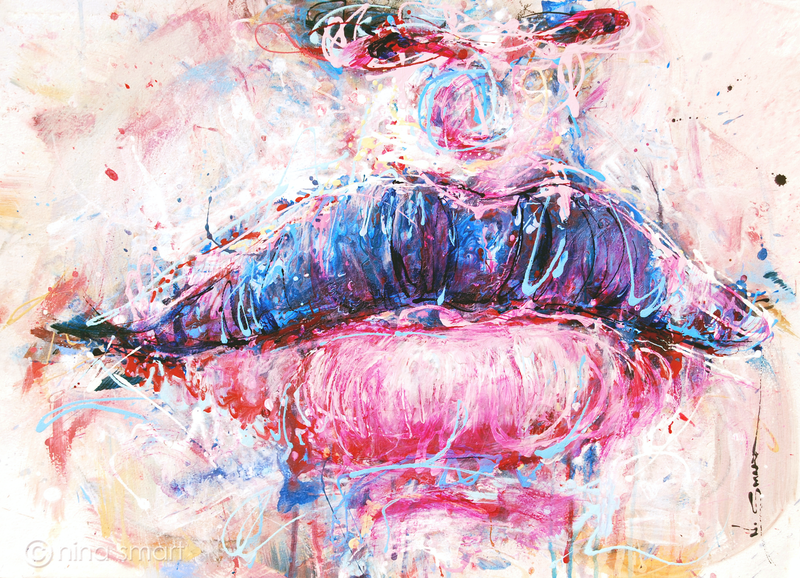(CreativeWork) Lips in Cotton Candy by Nina Smart. acrylic-painting. Shop online at Bluethumb.