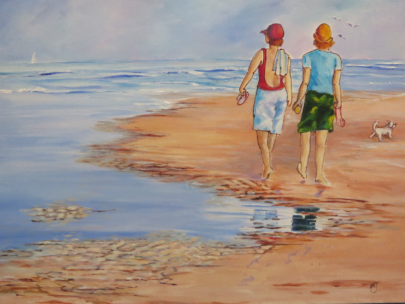 (CreativeWork) Early Morning Beach Walk by Anne-Marie Jones. arcylic-painting. Shop online at Bluethumb.