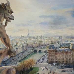 (CreativeWork) Overlooking Paris From The Top of Notre Dame by Richard(Tiejun) Chao. watercolour. Shop online at Bluethumb.