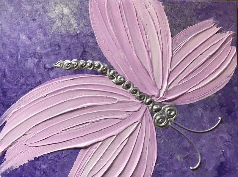 """(CreativeWork) ORIGINAL ABSTRACT ART PAINTING ON STRETCHED CANVAS  """"TEXTURED BUTTERFLY""""  PURPLE PINK SILVER by Debra Ryan. mixed-media. Shop online at Bluethumb."""