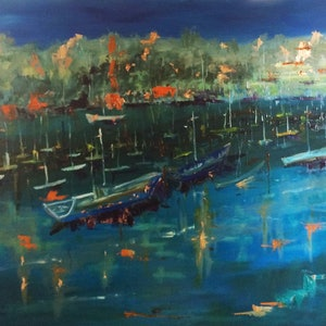 (CreativeWork) Night closes in on The Yamba Marina NSW  by Margaret Morgan (Watkins). oil-painting. Shop online at Bluethumb.