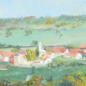 (CreativeWork) Village in Provence, France by Jan Matson. oil-painting. Shop online at Bluethumb.