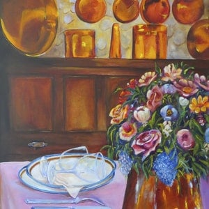 (CreativeWork) Chez Anne-Marie, restaurant in Rocamadour, France by Anne-Marie Jones. arcylic-painting. Shop online at Bluethumb.