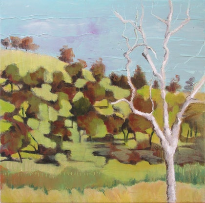 (CreativeWork) Skeleton Tree by Janelle White. oil-painting. Shop online at Bluethumb.