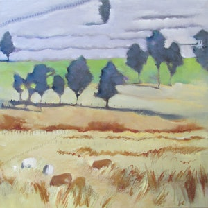 (CreativeWork) Fields of Gold by Janelle White. Oil Paint. Shop online at Bluethumb.