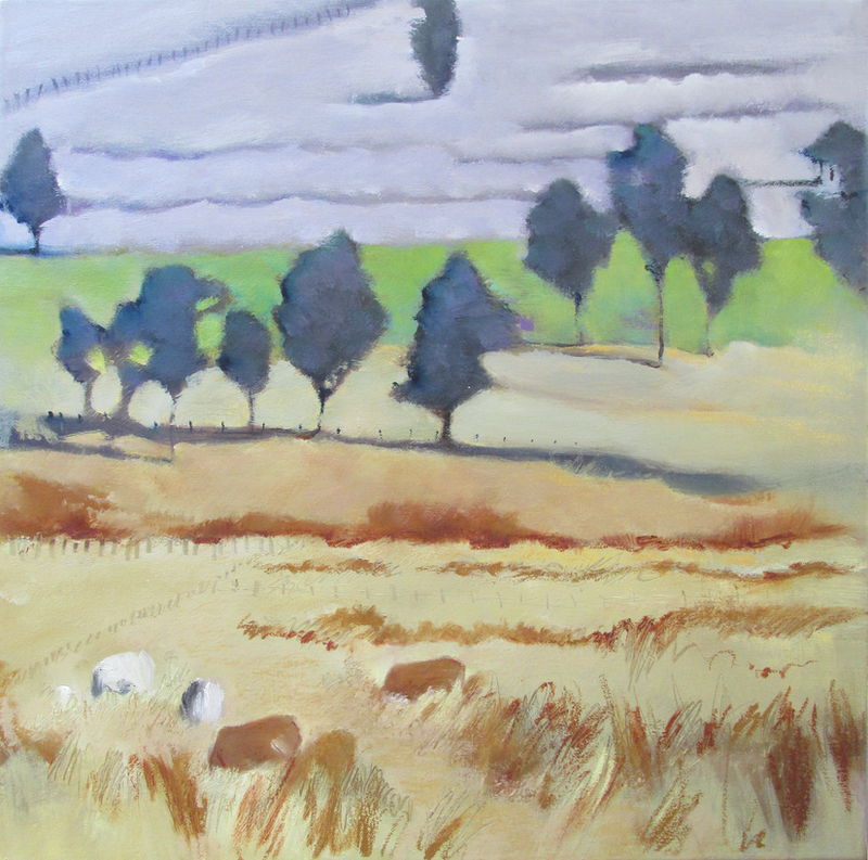 (CreativeWork) Fields of Gold by Janelle White. oil-painting. Shop online at Bluethumb.