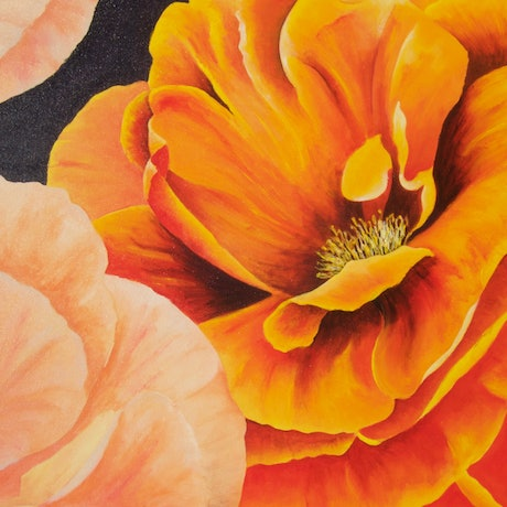 (CreativeWork) Roses by Jennie Smith. Acrylic Paint. Shop online at Bluethumb.
