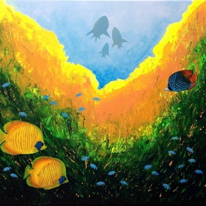 (CreativeWork) Ocean floor by Jing Tian. arcylic-painting. Shop online at Bluethumb.