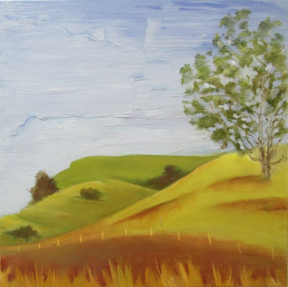 (CreativeWork) Curves Near Curra by Janelle White. oil-painting. Shop online at Bluethumb.