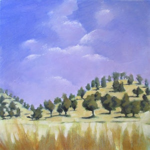 (CreativeWork) Big Sky by Janelle White. oil-painting. Shop online at Bluethumb.