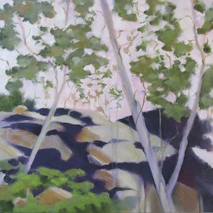 (CreativeWork) Settlers Road by Janelle White. oil-painting. Shop online at Bluethumb.