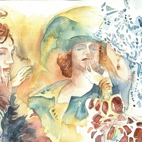 (CreativeWork) The conversation by Larissa Fraser. Watercolour Paint. Shop online at Bluethumb.