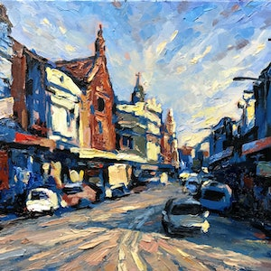(CreativeWork) King Street by Fangmin Wu. oil-painting. Shop online at Bluethumb.