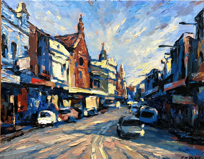(CreativeWork) King Street by Fangmin Wu. Oil Paint. Shop online at Bluethumb.