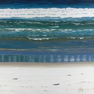 (CreativeWork) Moreton Beach by Abramo Papp. oil-painting. Shop online at Bluethumb.