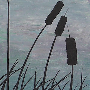 (CreativeWork) Grass Reeds in the Wetlands by Wendy Steinberg. acrylic-painting. Shop online at Bluethumb.