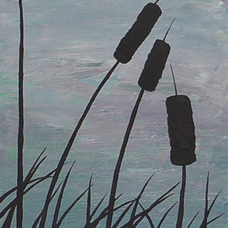 (CreativeWork) Grass Reeds in the Wetlands by Wendy Steinberg. Acrylic Paint. Shop online at Bluethumb.