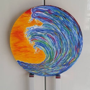 (CreativeWork) sunset blue waves on canvas  by Bianka Boyaci. oil-painting. Shop online at Bluethumb.