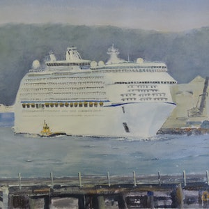 (CreativeWork) The 'Voyager of the Seas' in Port Kembla Harbour  by Colin Hadfield. arcylic-painting. Shop online at Bluethumb.
