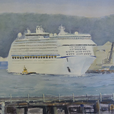 (CreativeWork) The 'Voyager of the Seas' in Port Kembla Harbour  by Colin Hadfield. Acrylic Paint. Shop online at Bluethumb.