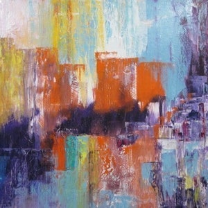 (CreativeWork) Landscape vibrant City scape by Janette Newman. arcylic-painting. Shop online at Bluethumb.