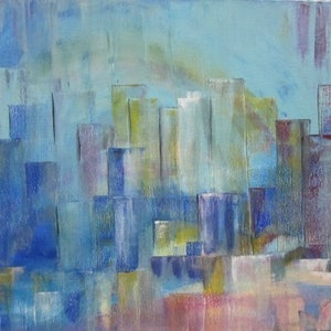 (CreativeWork) Blue city by Janette Newman. arcylic-painting. Shop online at Bluethumb.