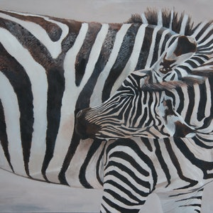 (CreativeWork) Zebra by Rob Kennedy. oil-painting. Shop online at Bluethumb.