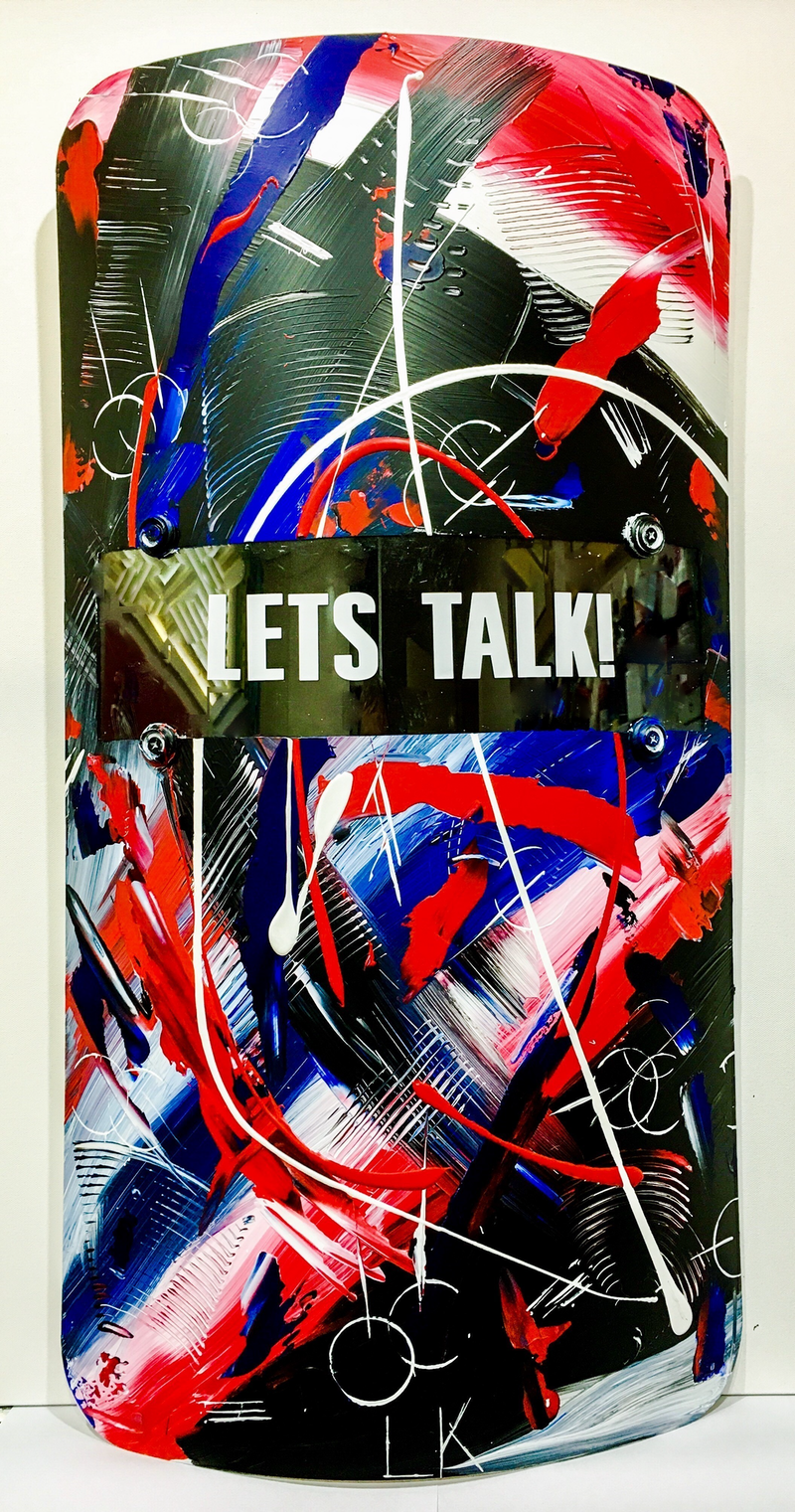 (CreativeWork) Riot Shield #Lets Talk! by Leith Kennedy. mixed-media. Shop online at Bluethumb.