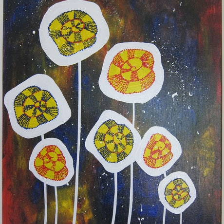 (CreativeWork) Crazy Daisies by Jennie Smith. Acrylic Paint. Shop online at Bluethumb.