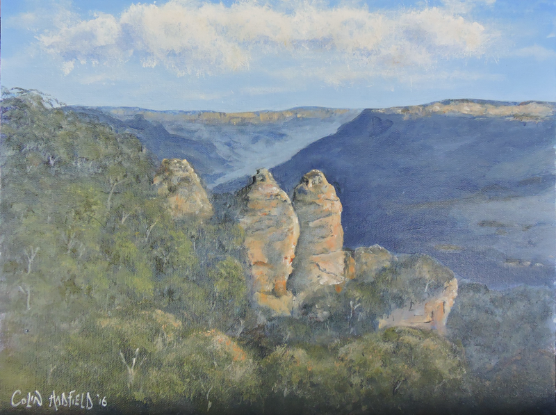 (CreativeWork) Three Katoomba Sisters by Colin Hadfield. arcylic-painting. Shop online at Bluethumb.