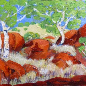 (CreativeWork) Devils Marbles #3  by Virginia McGowan. oil-painting. Shop online at Bluethumb.