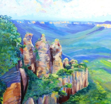 (CreativeWork) The Three Sisters , Echo Point blue Mountains  by Virginia McGowan. Oil Paint. Shop online at Bluethumb.