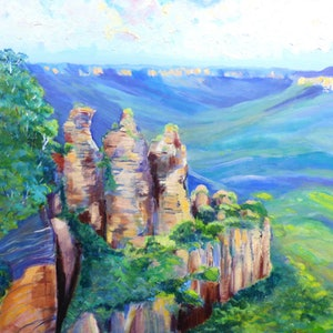 (CreativeWork) The Three Sisters , Echo Point blue Mountains  by Virginia McGowan. oil-painting. Shop online at Bluethumb.
