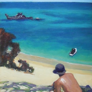 (CreativeWork) From the Sandhill, Moreton Island by Anne Strambi. oil-painting. Shop online at Bluethumb.