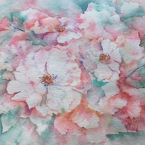 (CreativeWork) Soft Roses I by Vicki Reid. watercolour. Shop online at Bluethumb.