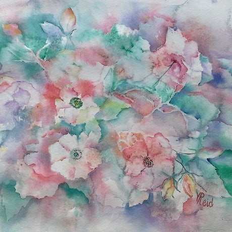 (CreativeWork) Soft Roses II by Vicki Reid. Watercolour Paint. Shop online at Bluethumb.