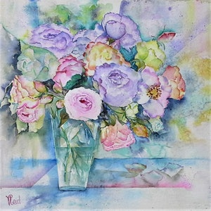 (CreativeWork) Roses in Vase by Vicki Reid. watercolour. Shop online at Bluethumb.