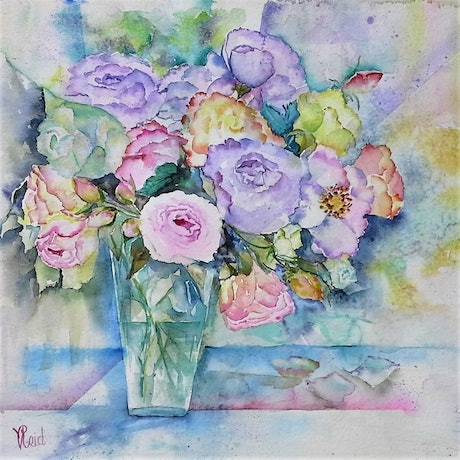 (CreativeWork) Roses in Vase by Vicki Reid. Watercolour Paint. Shop online at Bluethumb.