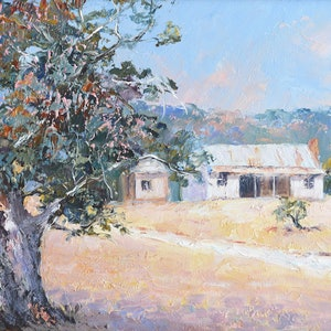 (CreativeWork) Country Cottages, New South Wales by Jan Matson. oil-painting. Shop online at Bluethumb.