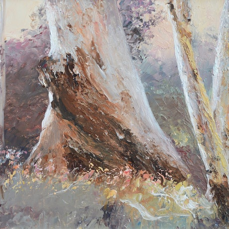 (CreativeWork) Dusk in the Bush by Jan Matson. Oil Paint. Shop online at Bluethumb.