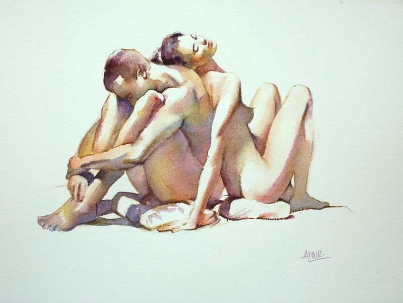 (CreativeWork) 'Coloured Couple' by Pauline Adair. watercolour. Shop online at Bluethumb.