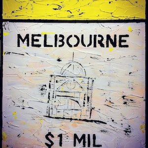 (CreativeWork) Melbourne - The Boom by Leith Kennedy. arcylic-painting. Shop online at Bluethumb.