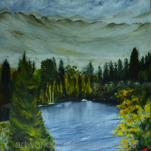 (CreativeWork) Queenstown, New Zealand by Denise Anzellotti. oil-painting. Shop online at Bluethumb.