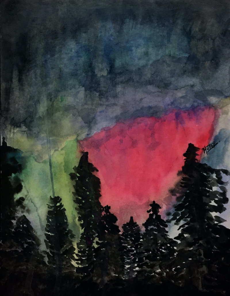 (CreativeWork) Night Sky by Hana Obsidian. Watercolour Paint. Shop online at Bluethumb.