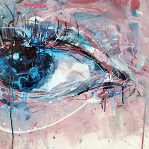 (CreativeWork) Eye in Blue Grey by Nina Smart. acrylic-painting. Shop online at Bluethumb.