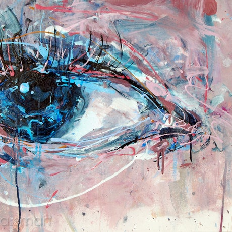 (CreativeWork) Eye in Blue Grey by Nina Smart. Acrylic Paint. Shop online at Bluethumb.
